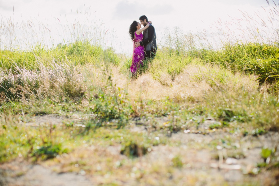 Indian Bride and Groom in Field Engagement Photo