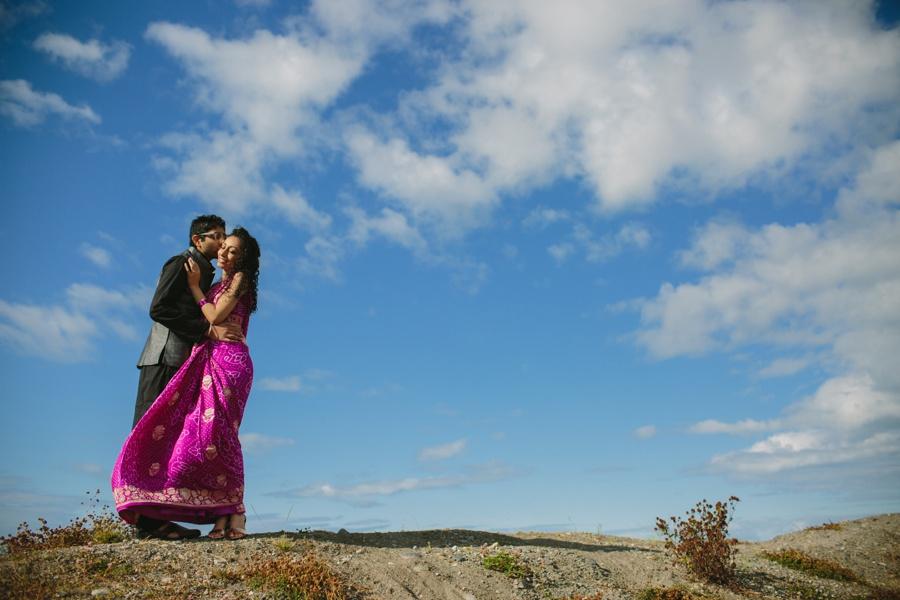 Bride in Flowing Sari Engagement