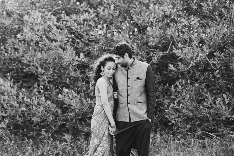Iona Beach Engagement Photo with Bushes
