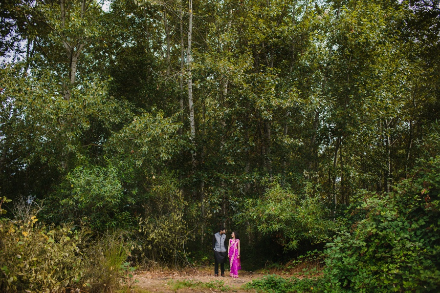 Forest with Indian Couple Engagement Photo