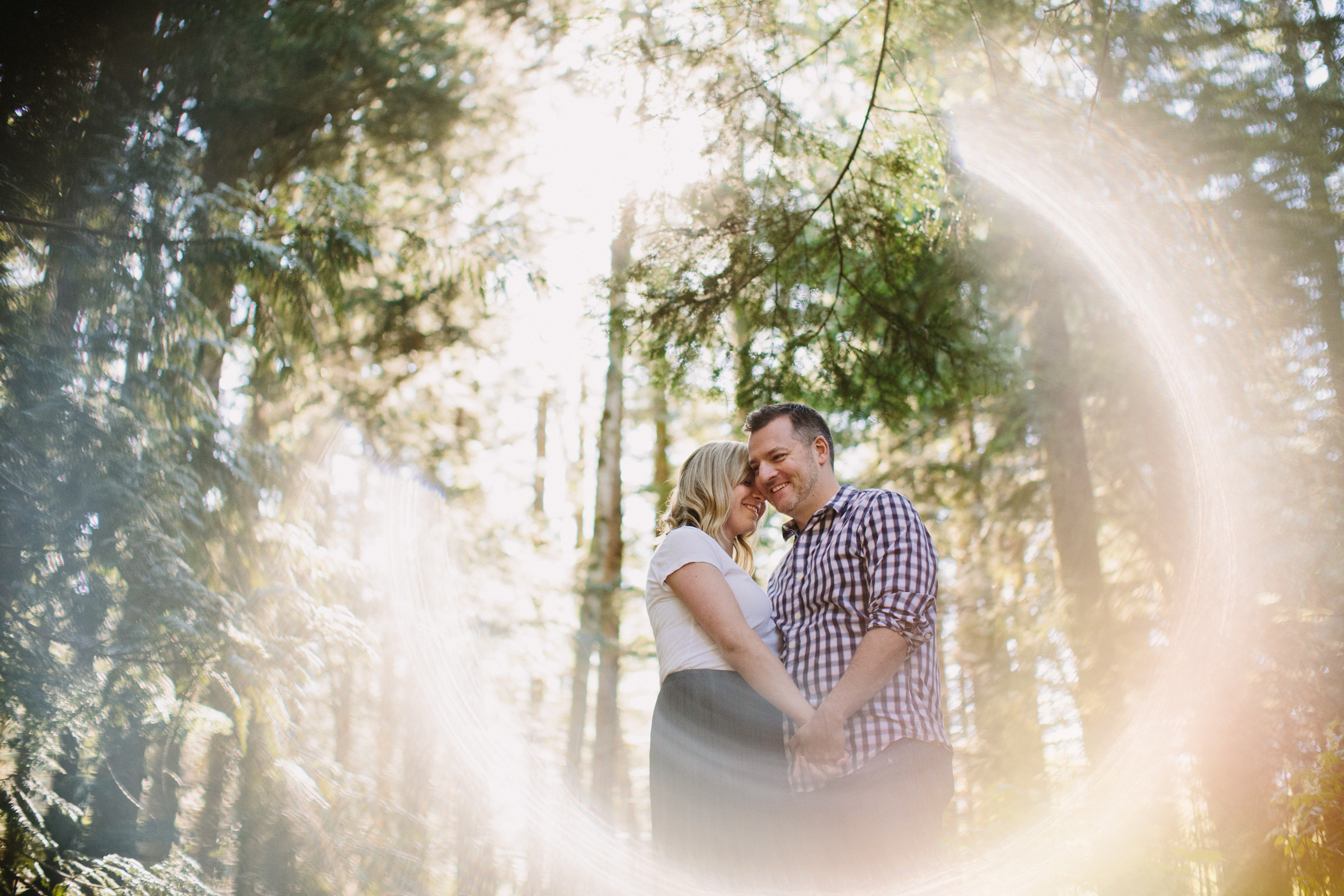 Coastal Forest Couple with Lens Flare