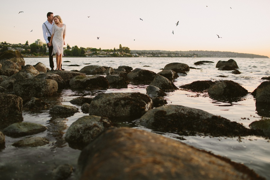 Vancouver Beach Engagement with birds
