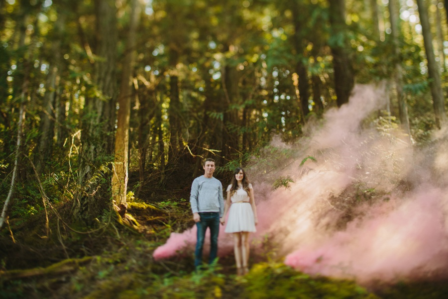 Coastal Forest Engagement Photo with Smoke Bomb