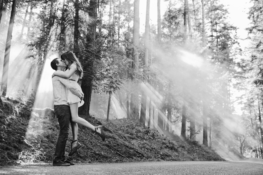 Couple Kissing in the Coastal Forest