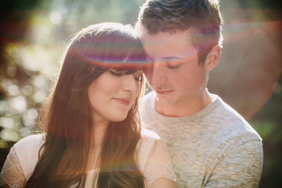 Rainbow Flare Engagement Portrait