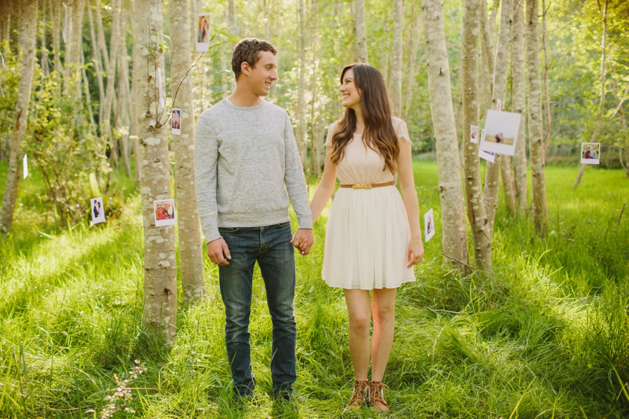 Birch Tree Portrait with Hanging Photos