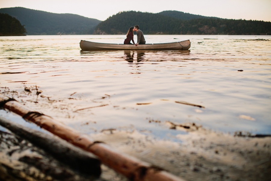 Mayne Island Engagement Photo with Canoe