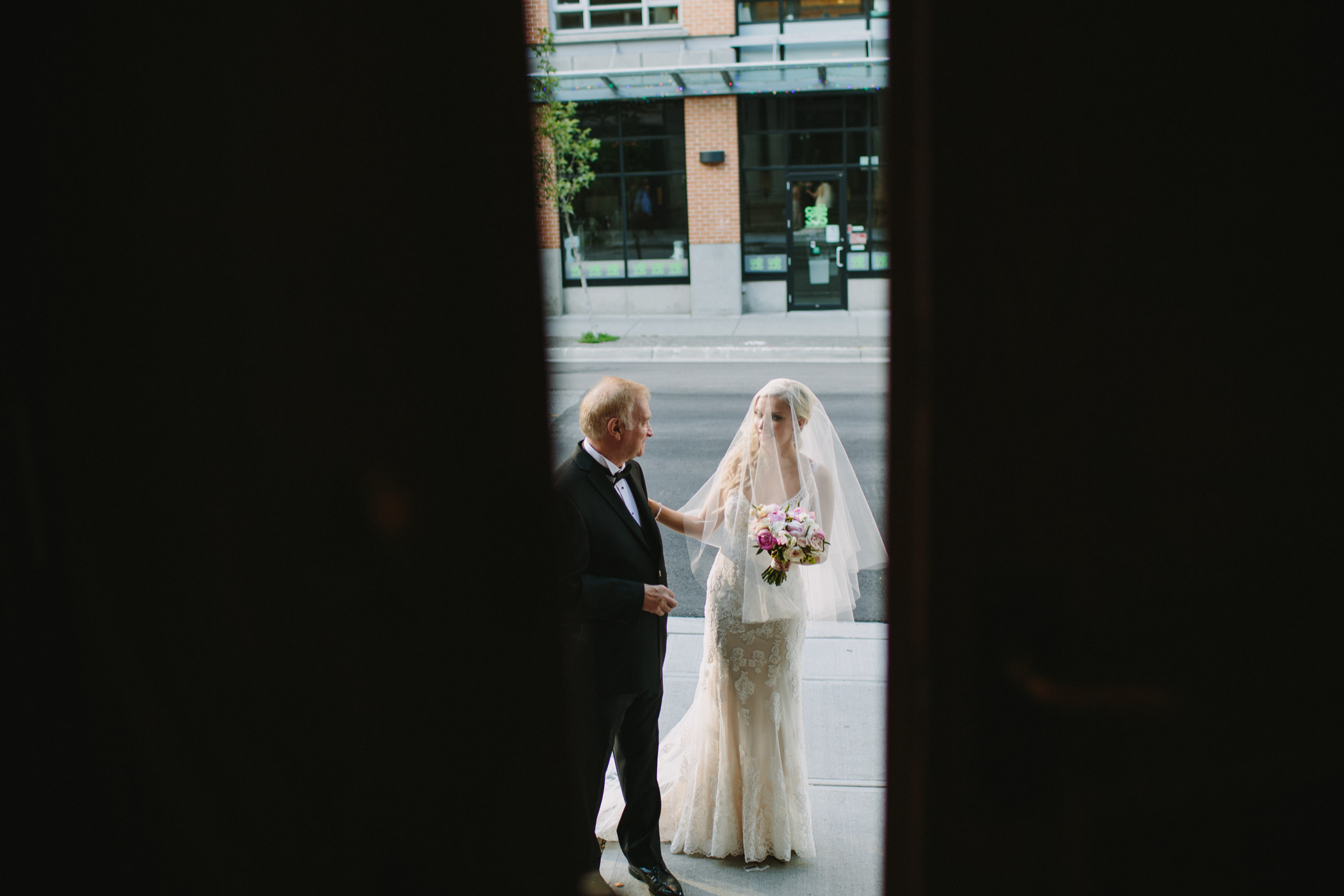 Bride and Father about to enter ceremony at the Permanent