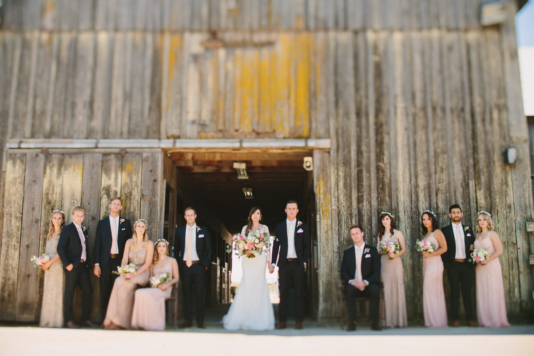 Langley Barn Wedding Party Portrait