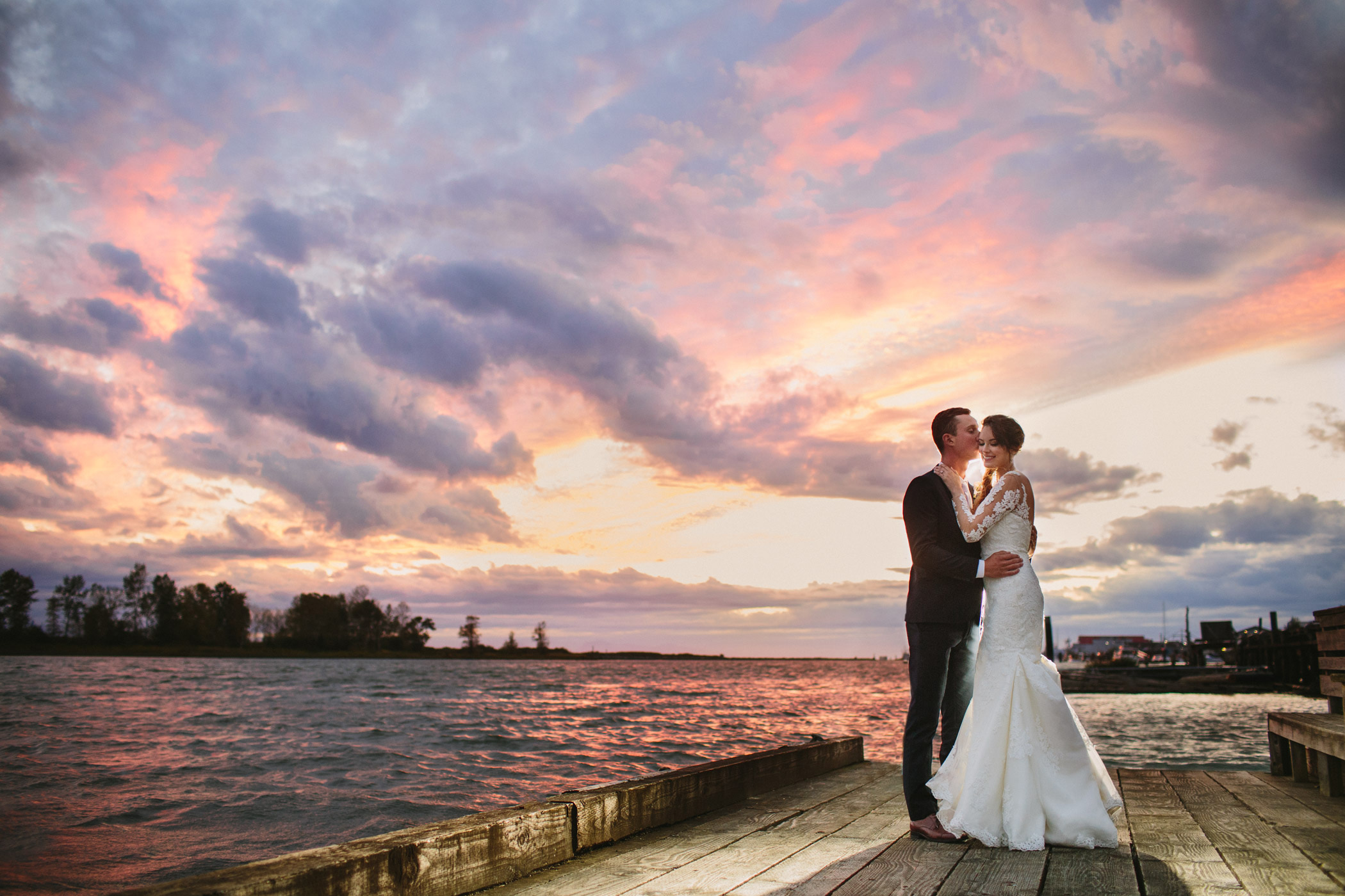 Steveston Sunset Wedding Portrait