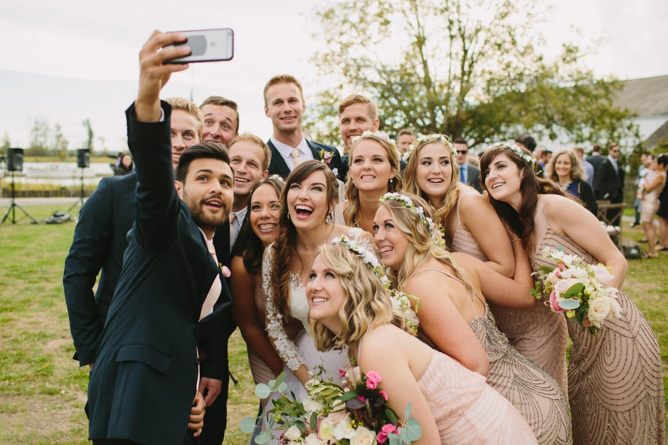 Wedding Party Selfie at Brittania Shipyards Wedding