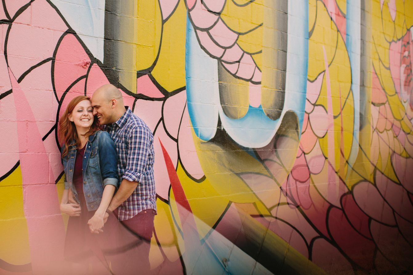 Creative Reflection Engagement Portrait using Vancouver Mural Festival Backdrop