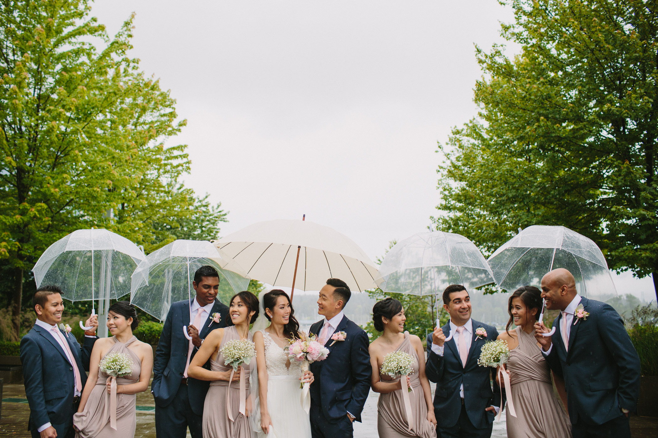 Vancouver Wedding Party with Umbrellas