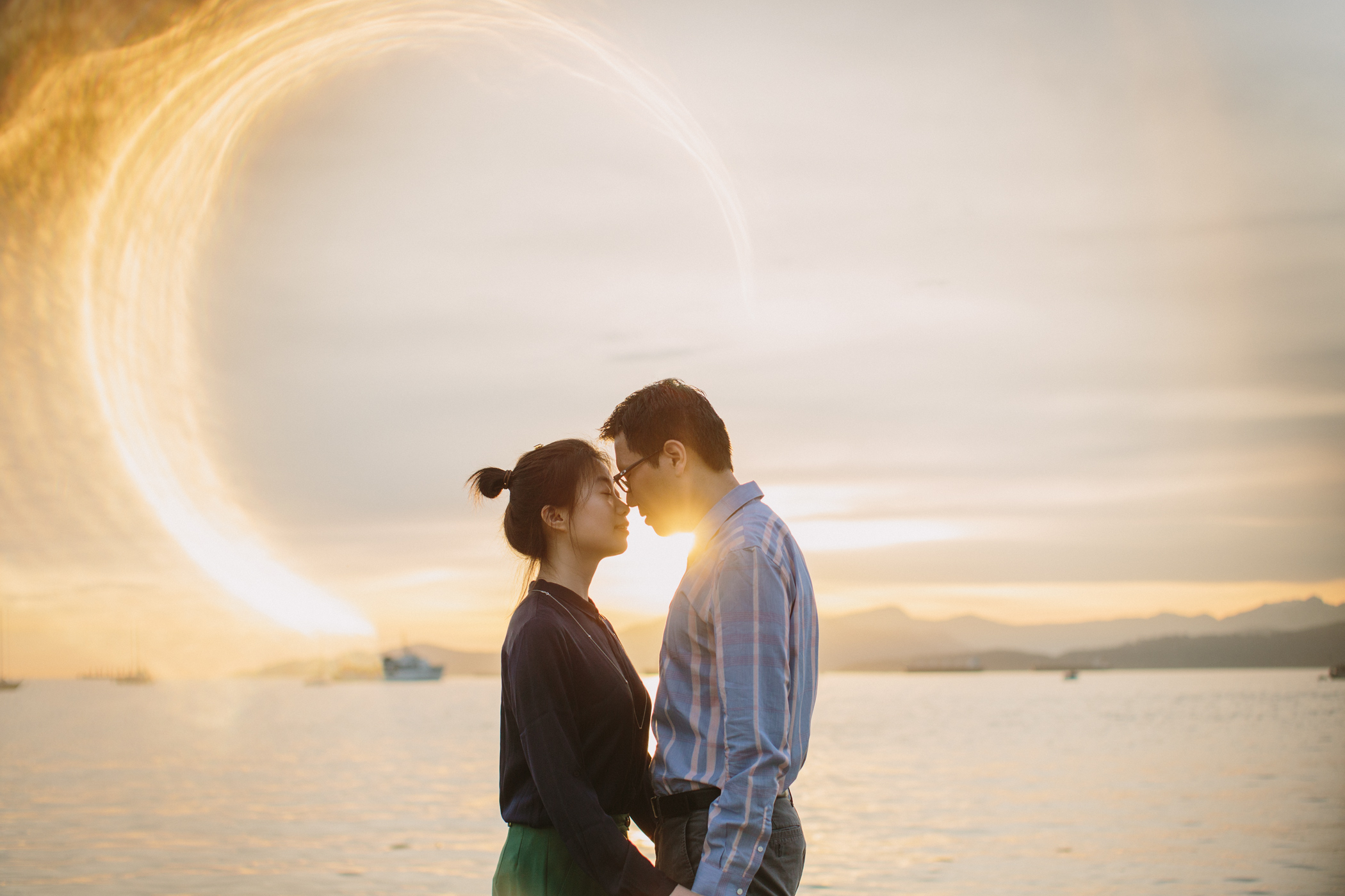 Kitsilano Sunset Flare Engagement Photo