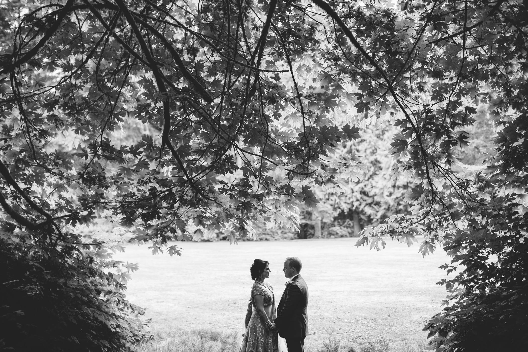Black and white Ismaili wedding couple