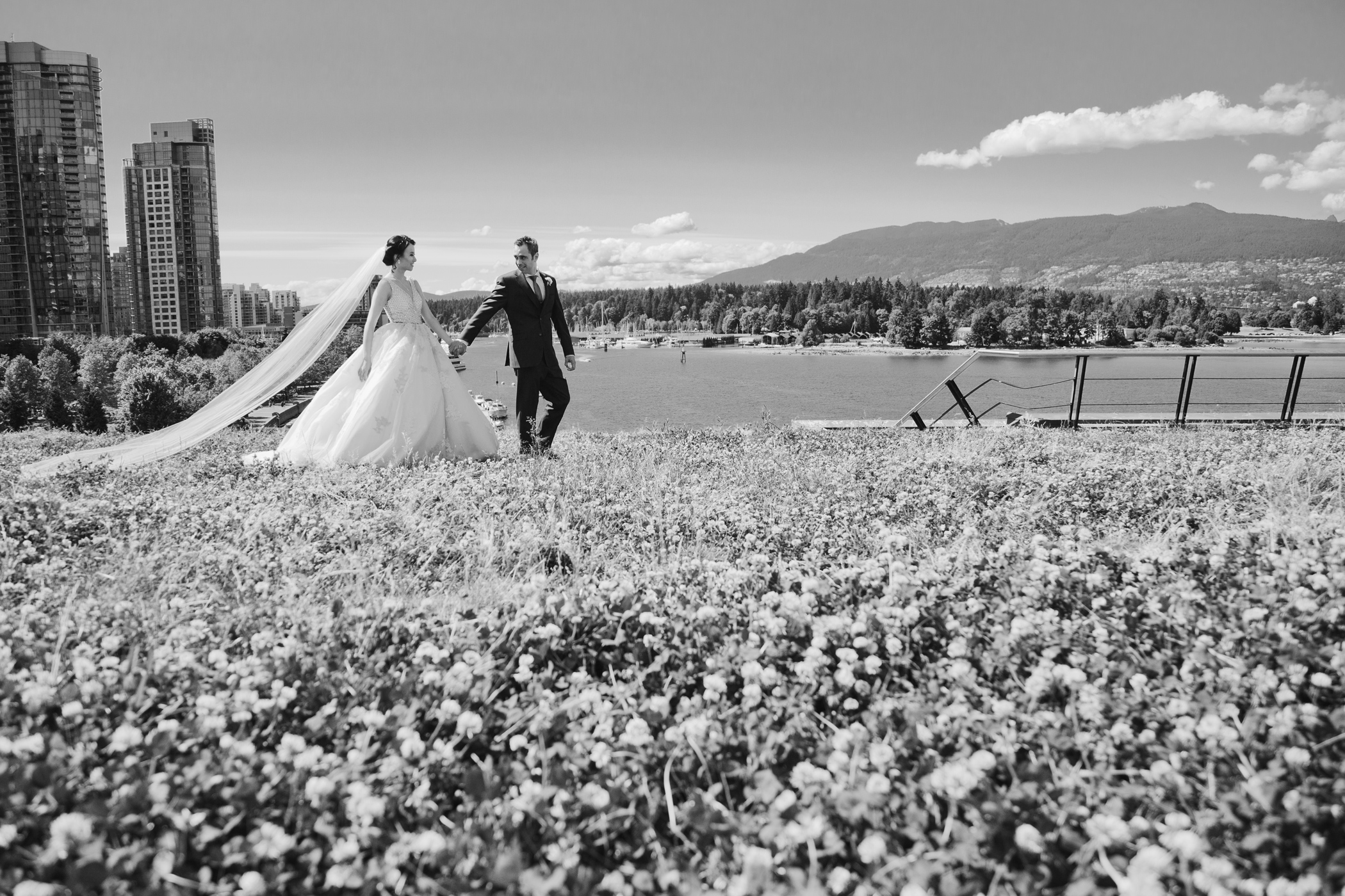 Wedding Portraits on Green Roof in Coal Harbour