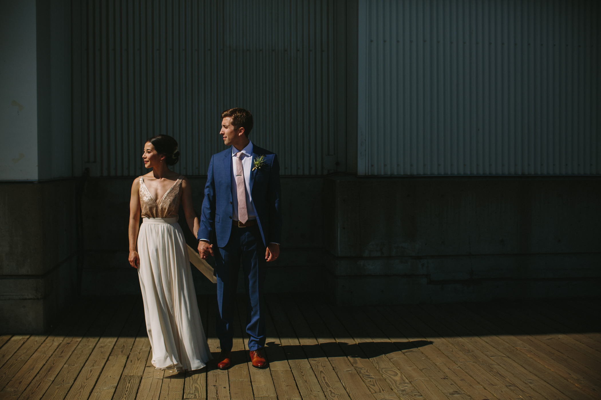 New Westminster Boardwalk Bride and Groom