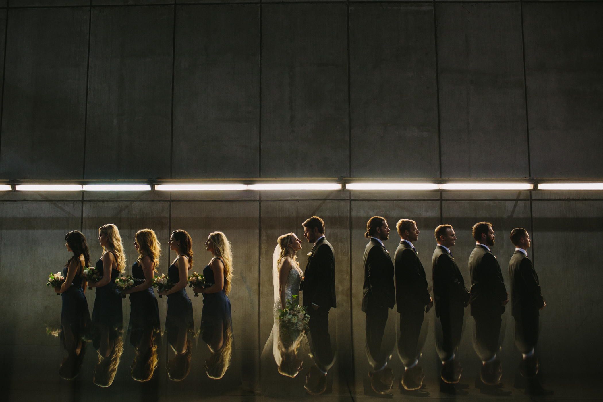 Wedding Party Reflection Shot