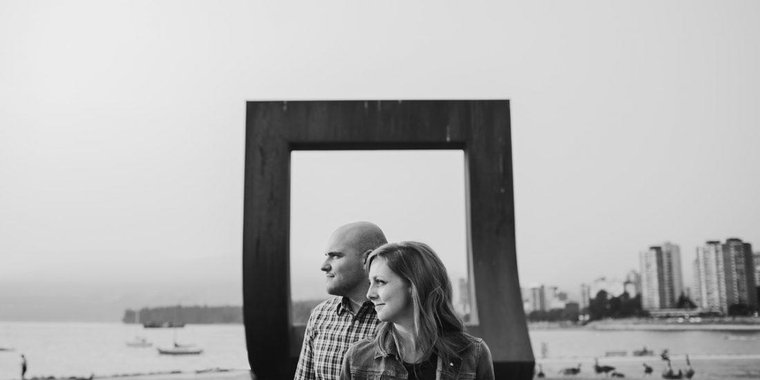 Black and White Engagement Photo at Vanier Park