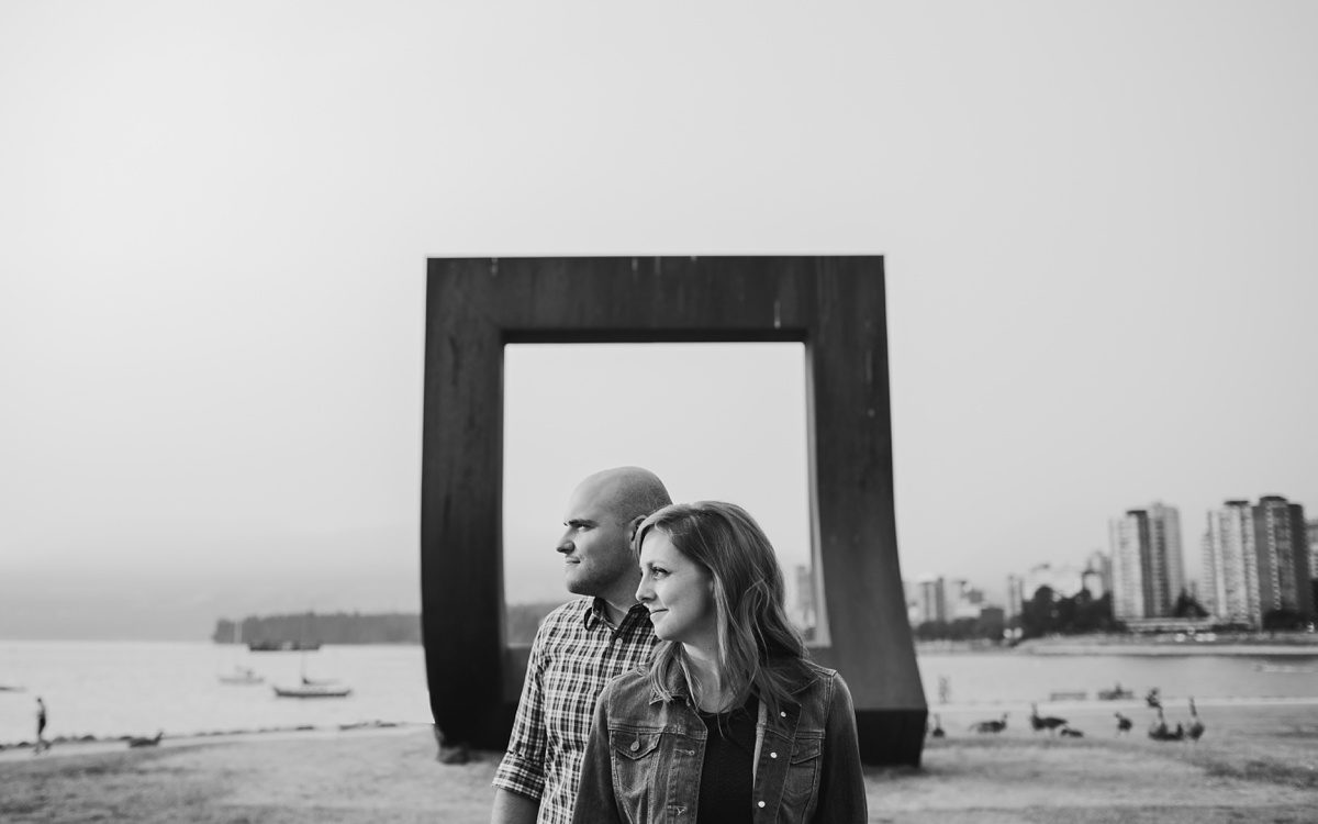 Black and White Engagement Photo at Vanier Park