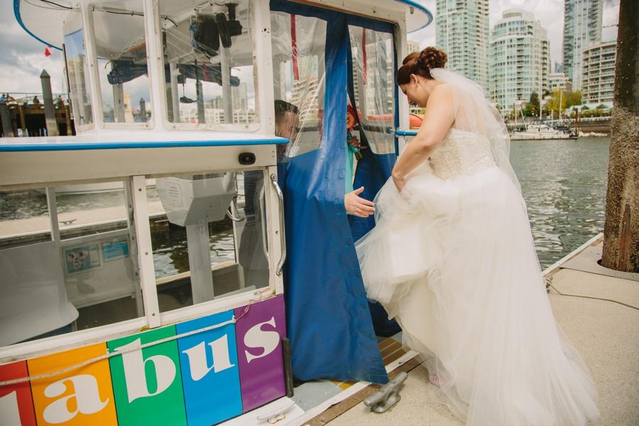 Bride and Groom Boarding Aquabus in Vancouver
