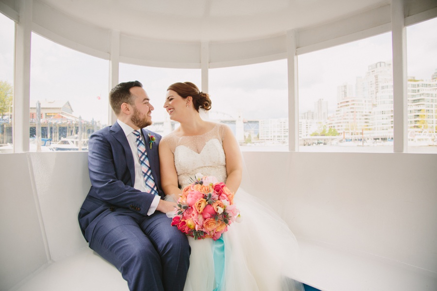 Bride and Groom Aboard False Creek Aquabus