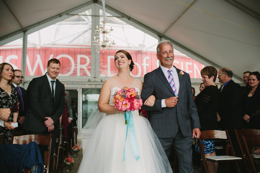 Bride Processional at Science World Wedding