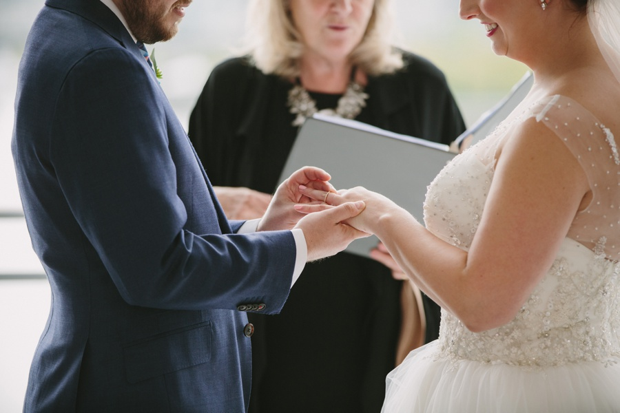 Exchanging Rings during Wedding Ceremony in Vancouver