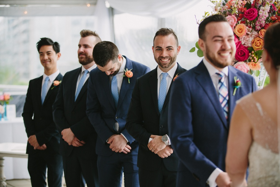Laughing Groomsmen at Science World Vancouver