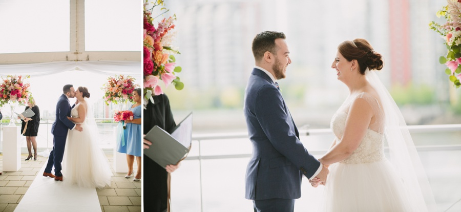 First Kiss at Science World Wedding Ceremony