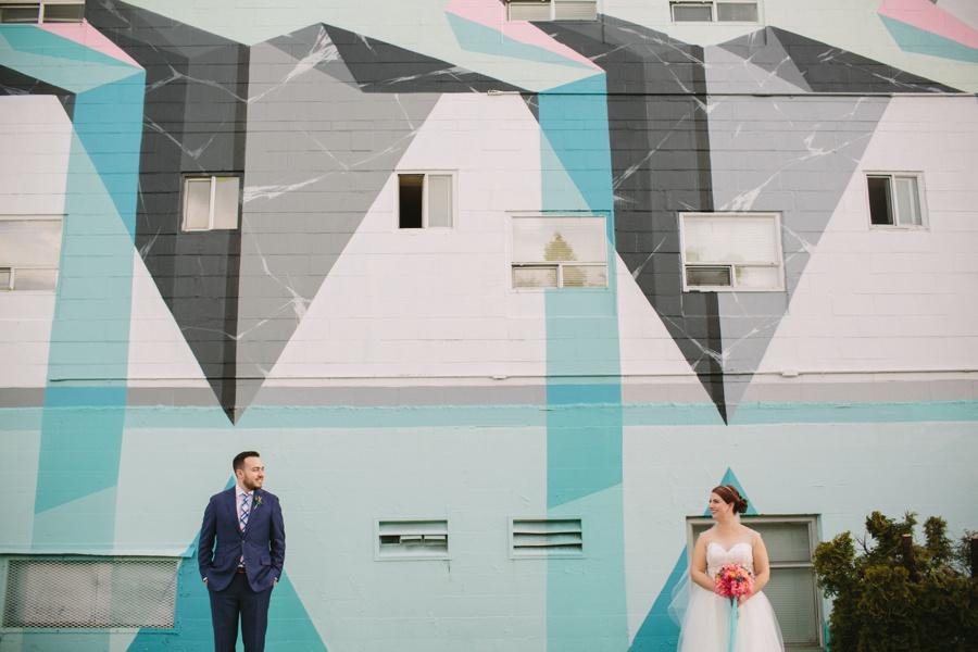 Vancouver Mural Festival Bride and Groom Portrait