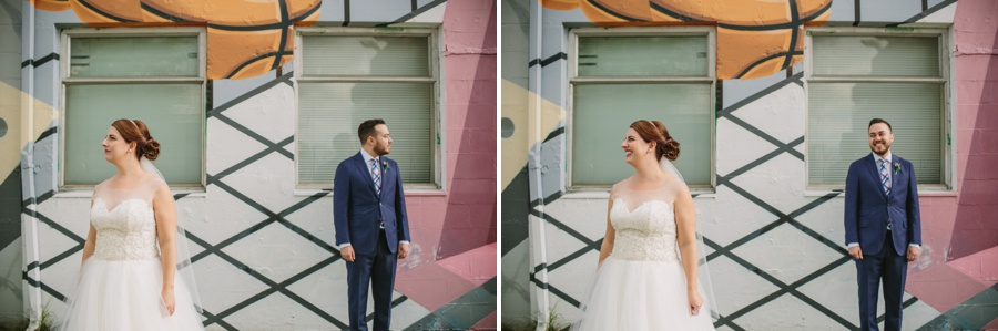Bride and Groom in front of Vancouver Murals