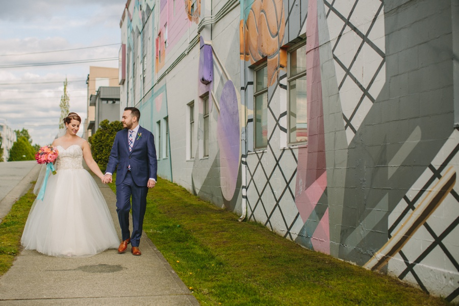 Bride and Groom with Vancouver Murals