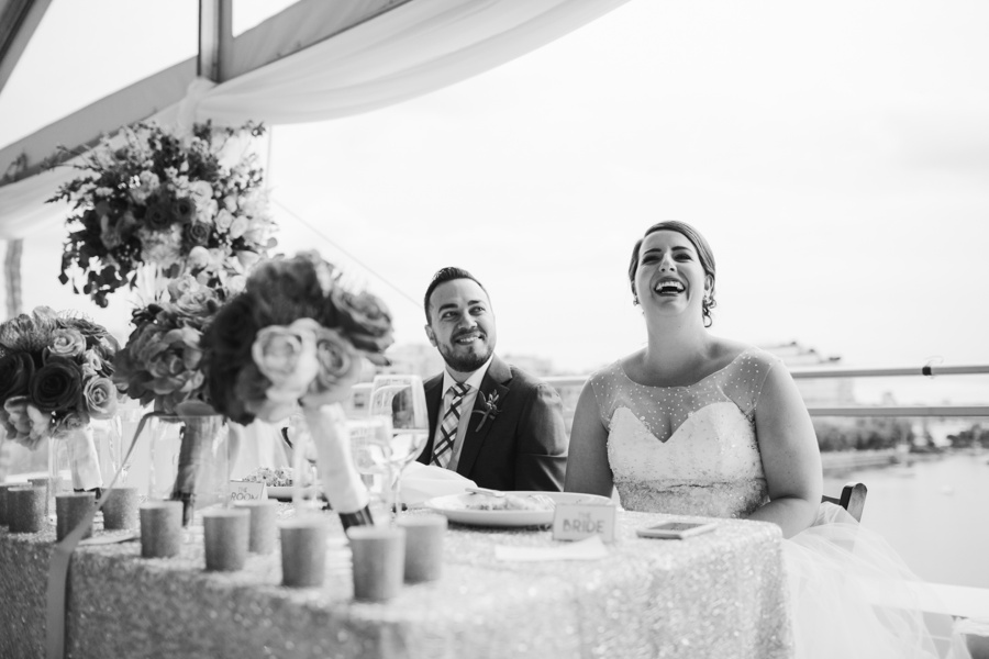 Candid Portrait of Bride Laughing at Science World Reception