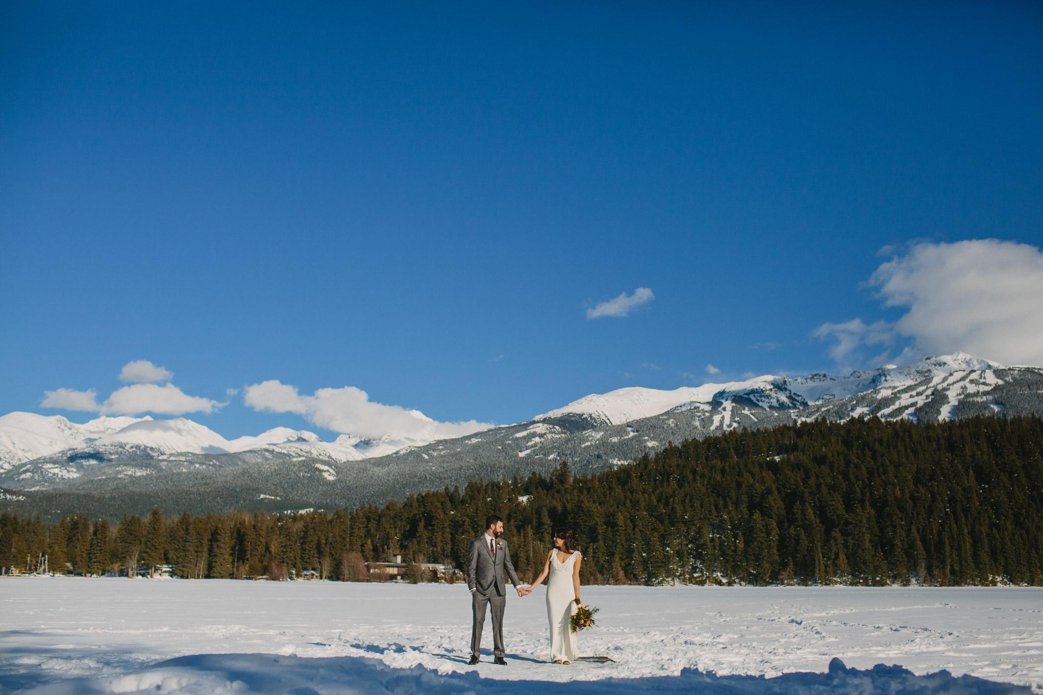 Alta Lake Winter Wedding Portrait