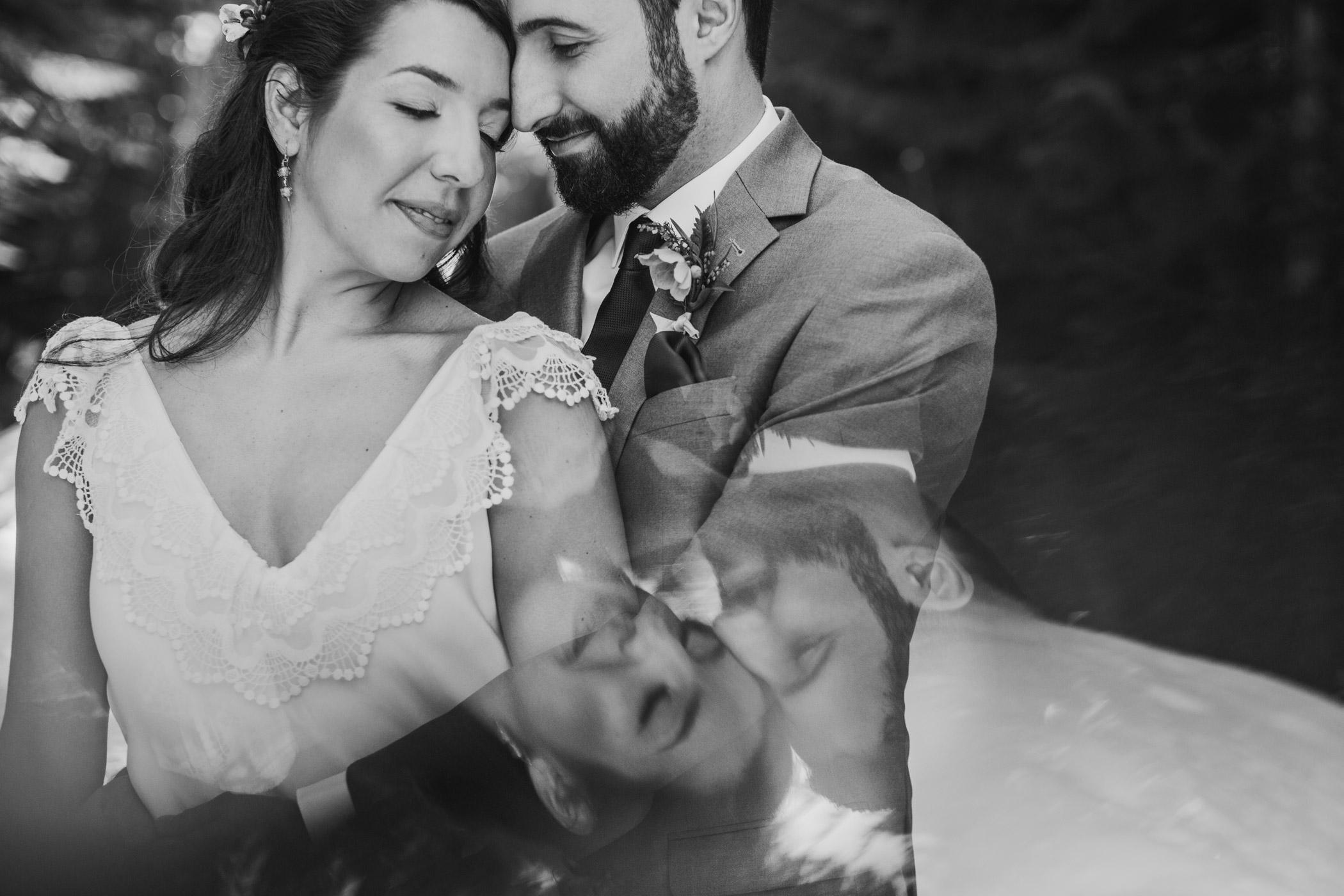 Double Exposure Wedding Portrait in Whistler