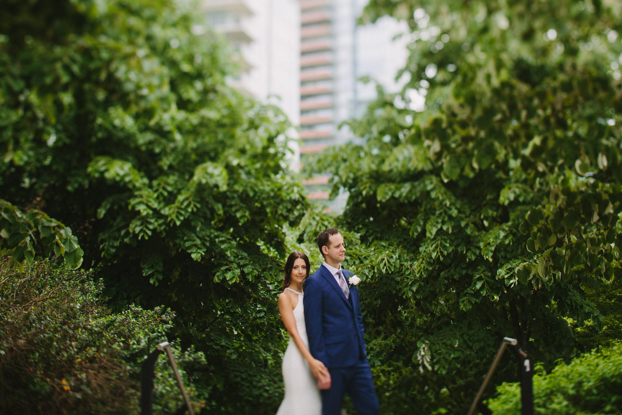 Tilt Shift Wedding Portrait in Coal Harbour