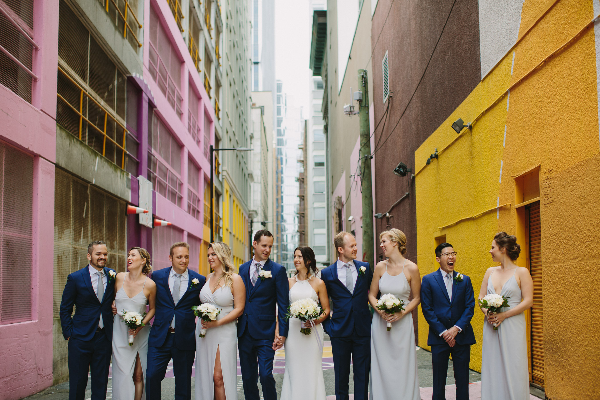 Wedding Party in Pink Alley Vancouver