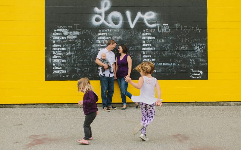 Family Session in front of Love Mural in Granville Island