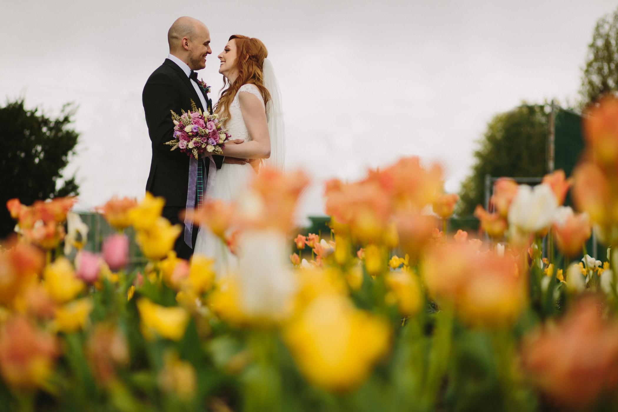 New Westminster Wedding Portrait in Tulips