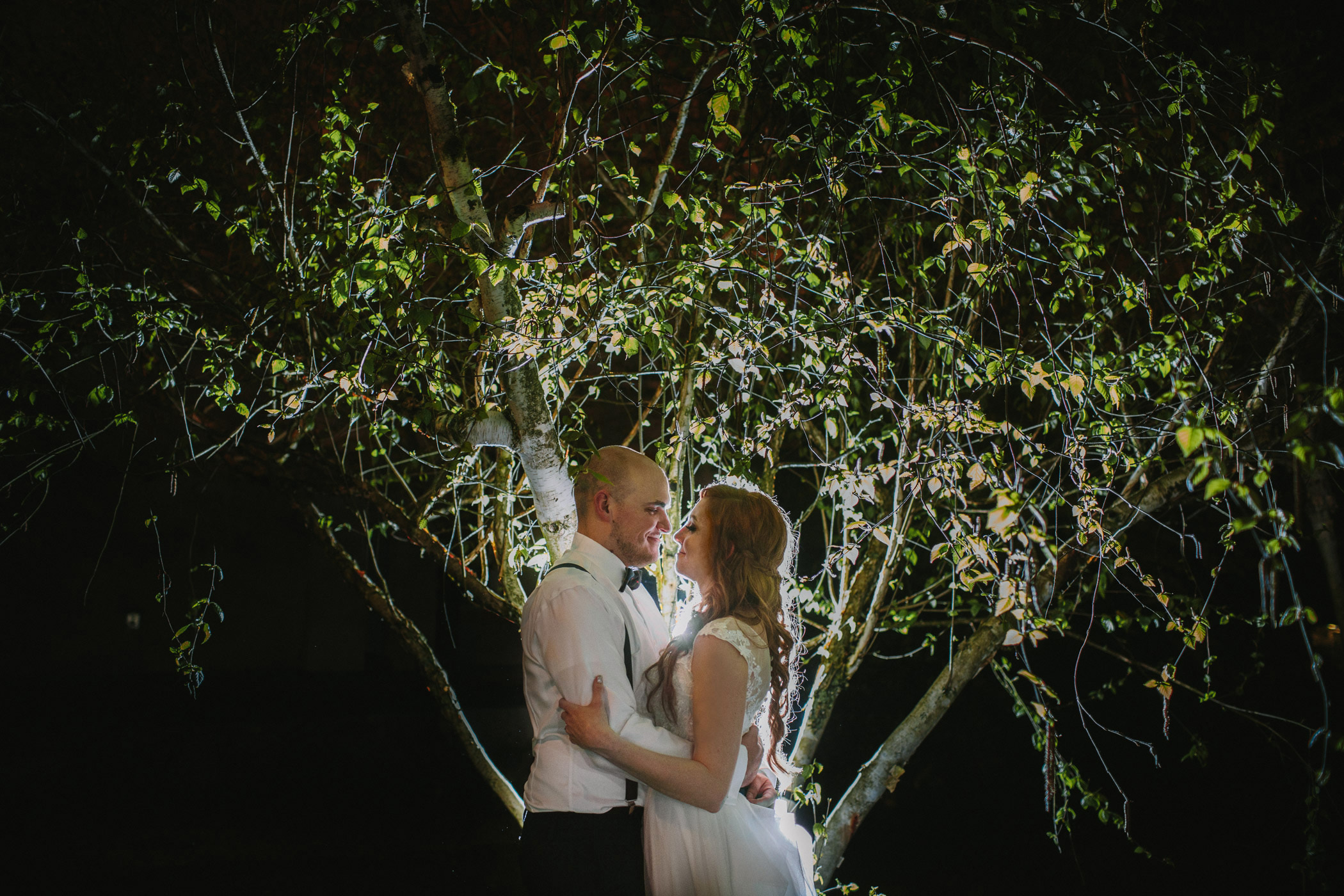 New Westminster Bride and Groom Night Portrait