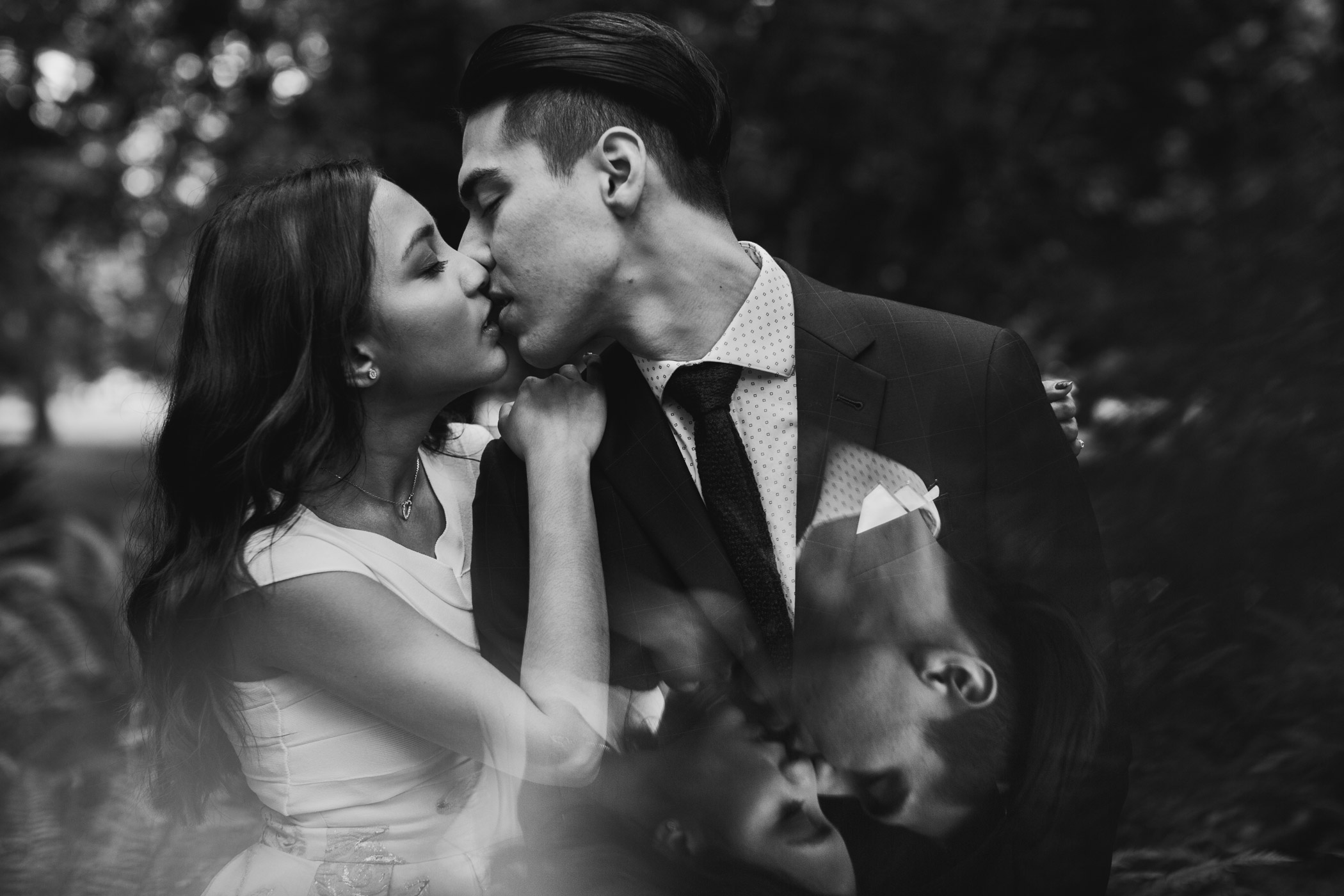 Black and White Reflection Portrait Bride and Groom