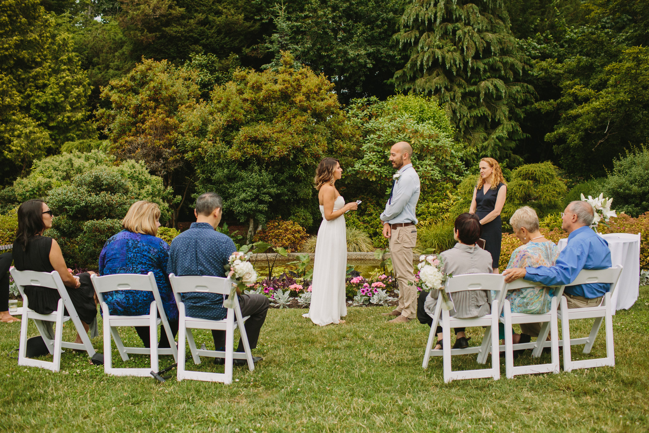Wedding Ceremony next to Cecil Green Pond