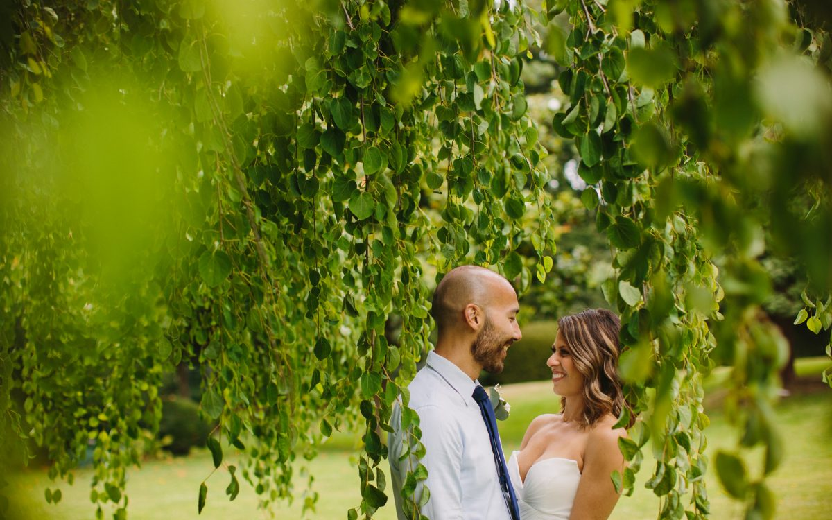 Vancouver Bride and Groom with Trees