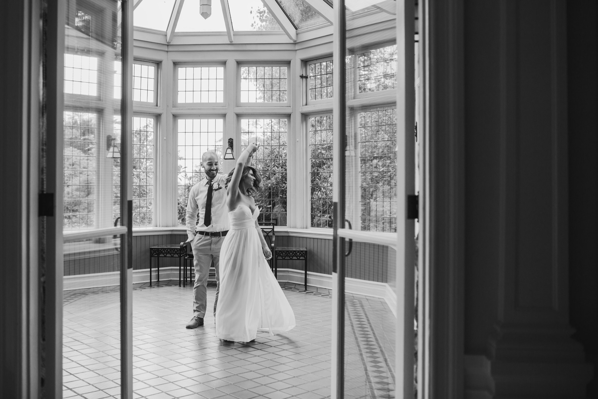 Bride and Groom Dancing in Cecil Green Greenhouse