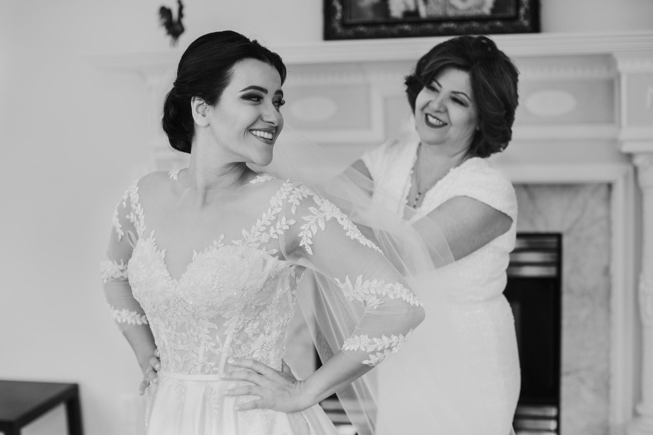 North Vancouver Persian Bride Gets into Dress