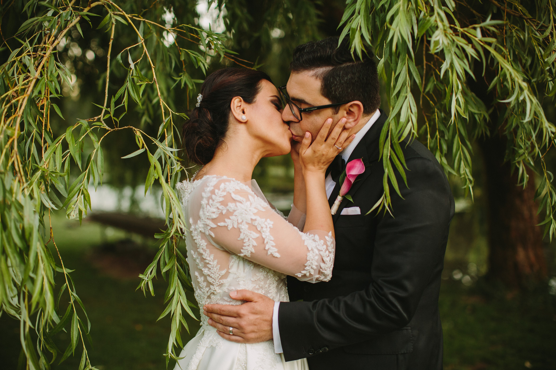 Vancouver Wedding Portrait under Willow Tree
