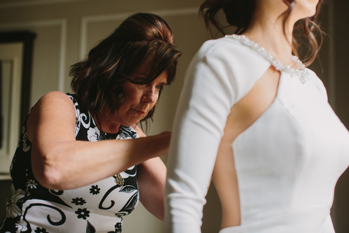 Fairmont Hotel Vancouver wedding dress going on