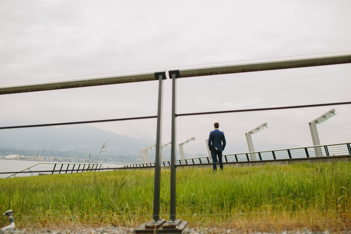 Vancouver groom waiting for first look at Coal Harbour