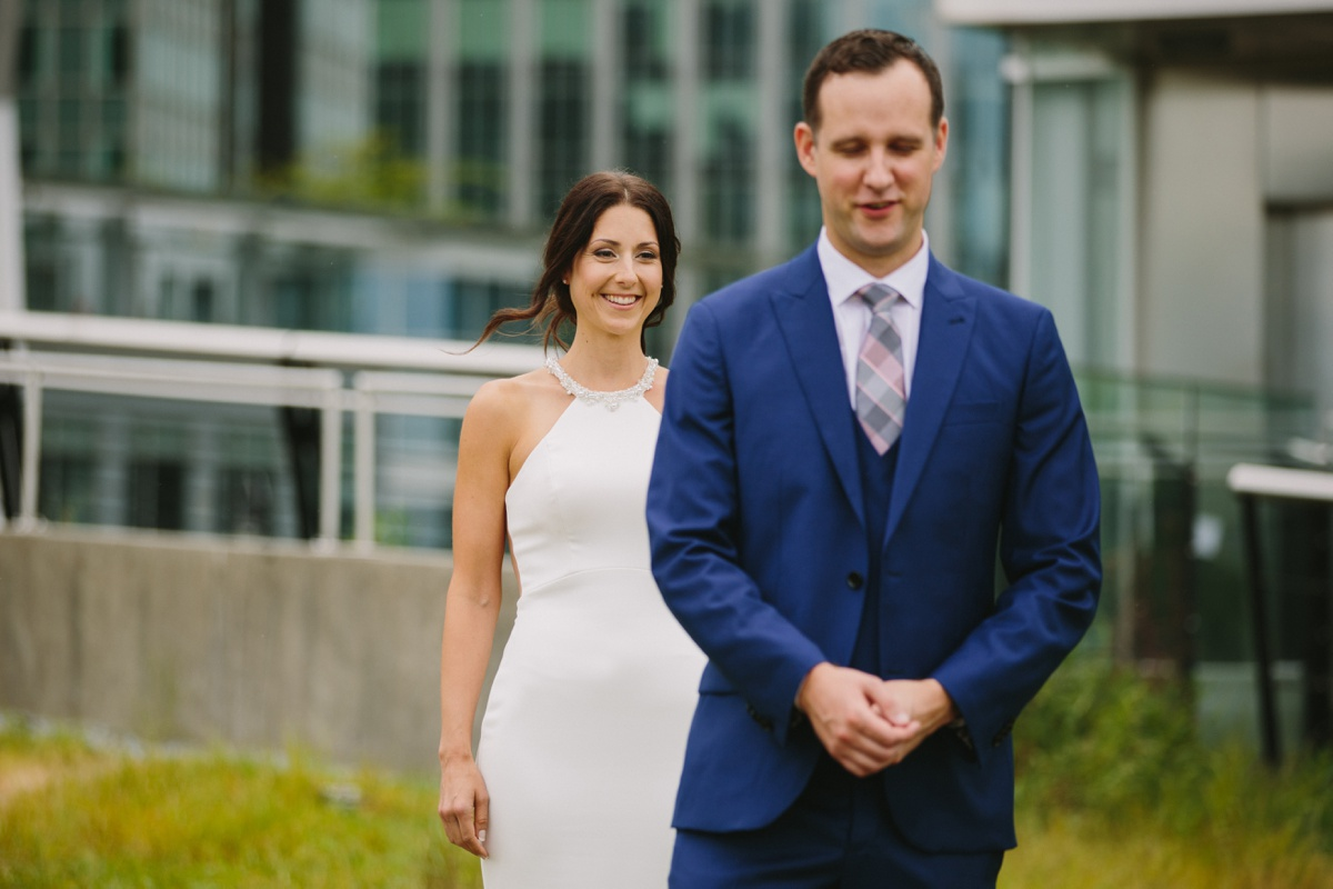 Vancouver bride and groom first look